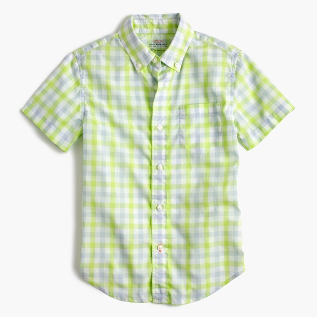 Kids' short-sleeve Secret Wash shirt in green gingham