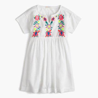 Girls' embroidered floral gauze dress