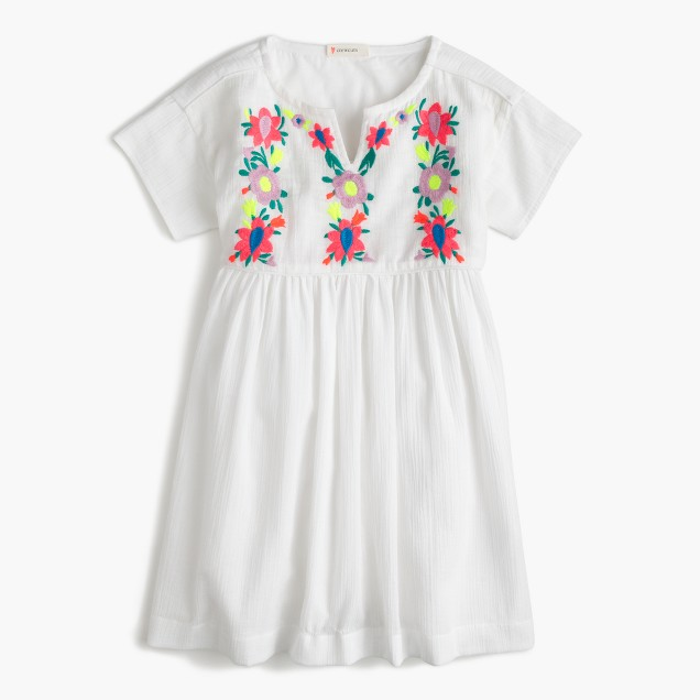 Girls' embroidered floral gauze dress