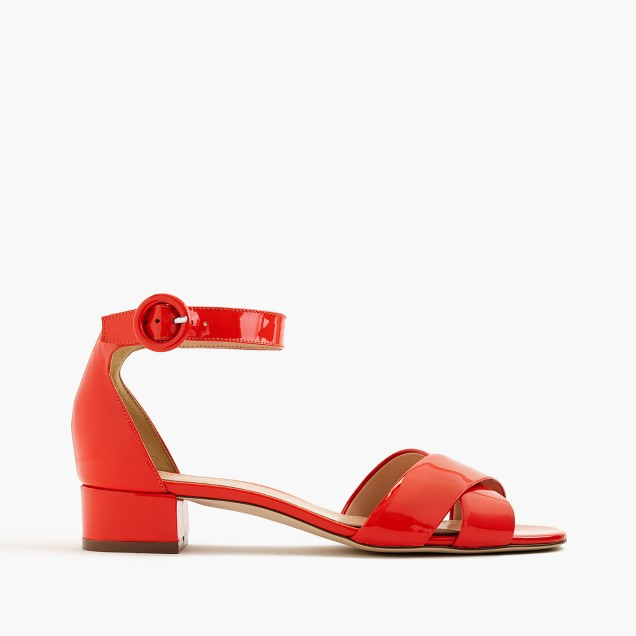 Patent leather cross-strap sandals
