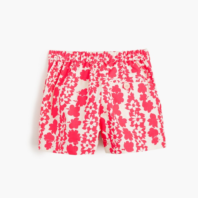 Girls' pull-on short in neon floral