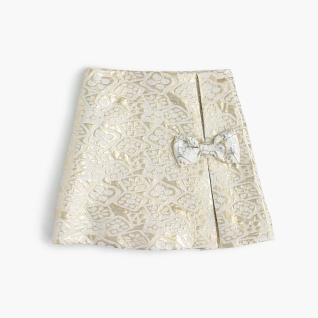 Girls' metallic jacquard skirt