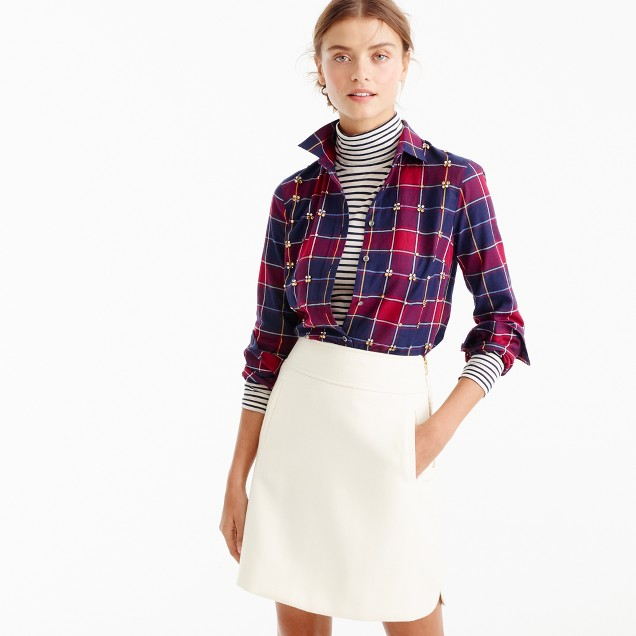 Collection Thomas Mason® for J.Crew embellished shirt in tartan
