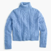 Collection cropped cable turtleneck sweater