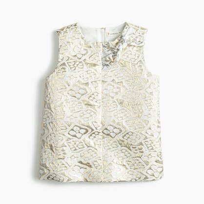 Girls' metallic jacquard top