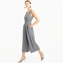 Collection wide-leg cropped jumpsuit in wool flannel