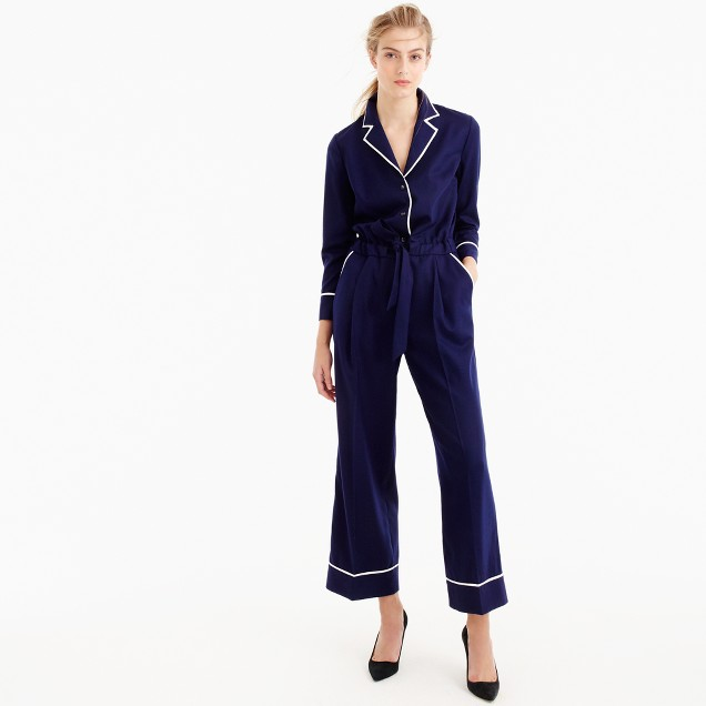 Collection tipped wool flannel jumpsuit