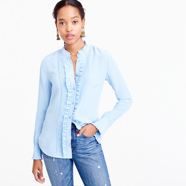 Petite ruffle silk button-up