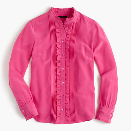 Ruffle silk button-up