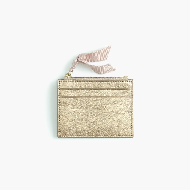 Small zip wallet in metallic Italian leather