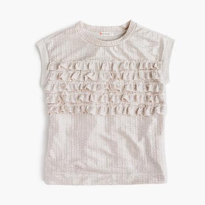 Girls' shimmer ruffle T-shirt
