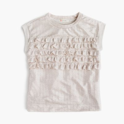 Girls' shimmer ruffle T-shirt