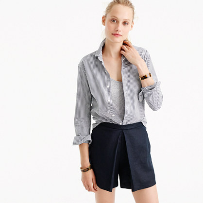 Polished linen skirty short