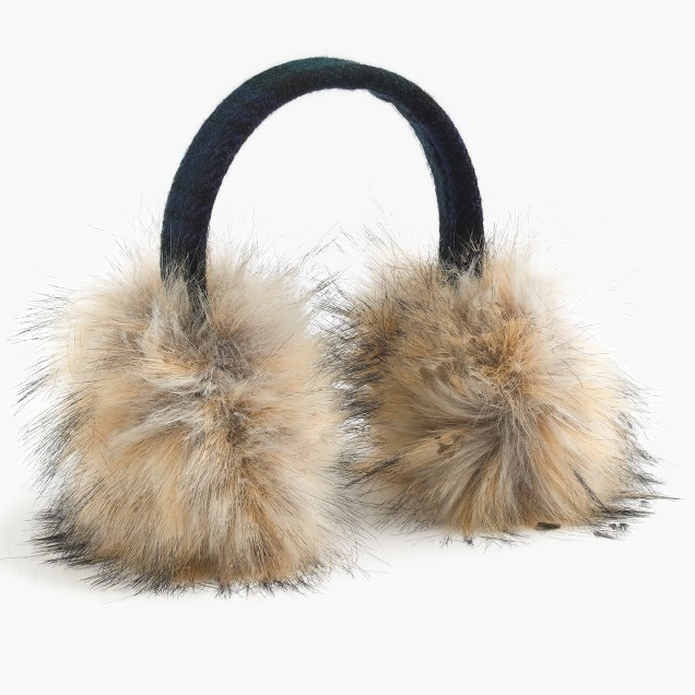 Faux-fur earmuffs with Black Watch lining
