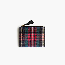Small zip wallet in Stewart plaid Italian leather
