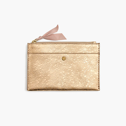 Medium pouch in metallic Italian leather