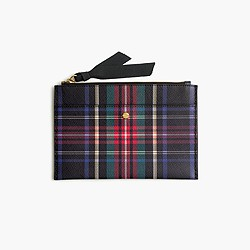 Medium pouch in Stewart plaid Italian leather