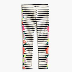Girls' everyday leggings in floral stripe