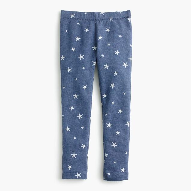 Girls' everyday cozy leggings in stars