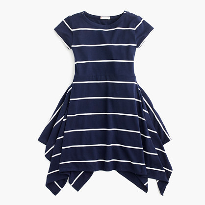 Girls' short-sleeve striped handkerchief dress