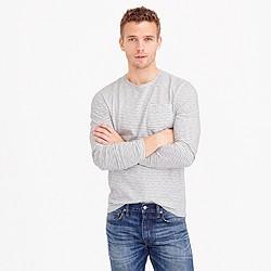 Slub cotton long-sleeve T-shirt in ivory stripe