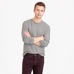 Slub cotton long-sleeve T-shirt in grey stripe