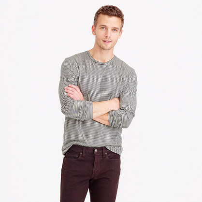 Slub cotton long-sleeve T-shirt in grey stripe