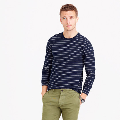 Slub cotton long-sleeve T-shirt in navy stripe