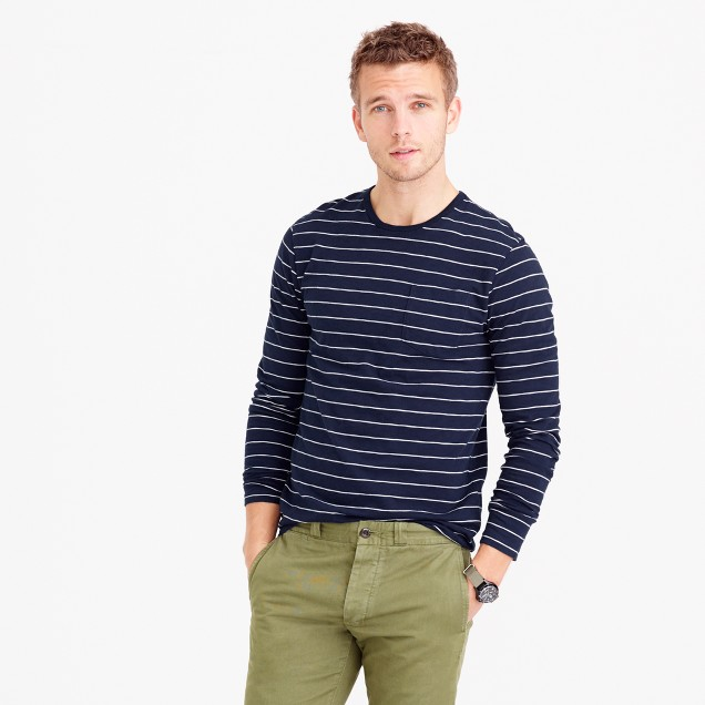 Tall slub cotton long-sleeve T-shirt in navy stripe
