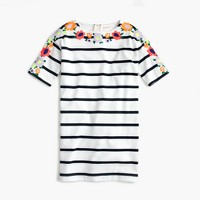 Girls' embroidered floral striped dress