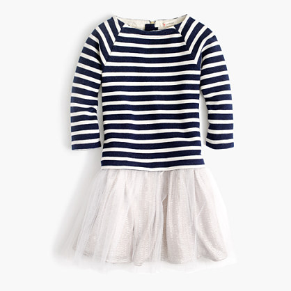Girls' tulle sweatshirt dress in stripe