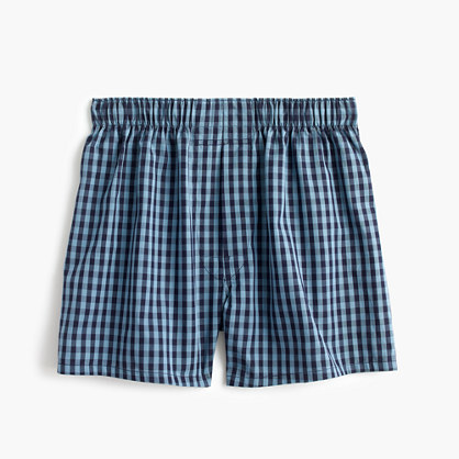 Blue check boxers