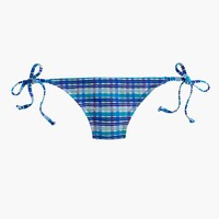 String hipster bikini bottom in Italian puckered plaid