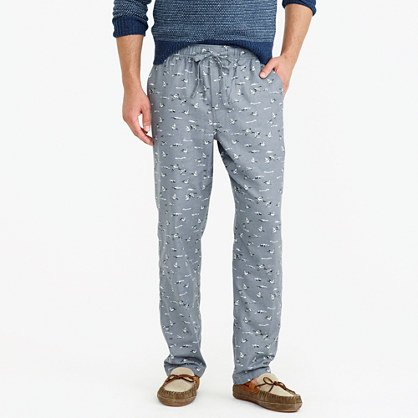Flannel pajama pant in duck print