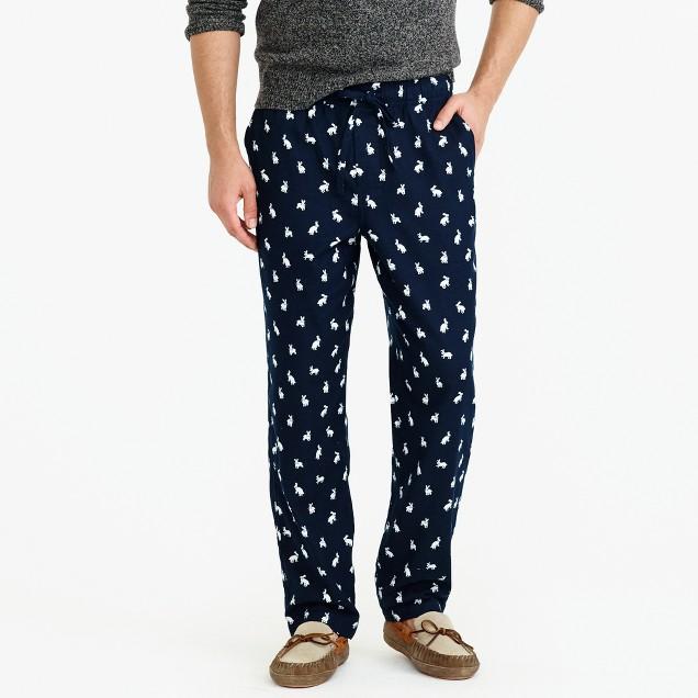 Flannel pajama pant in rabbit print
