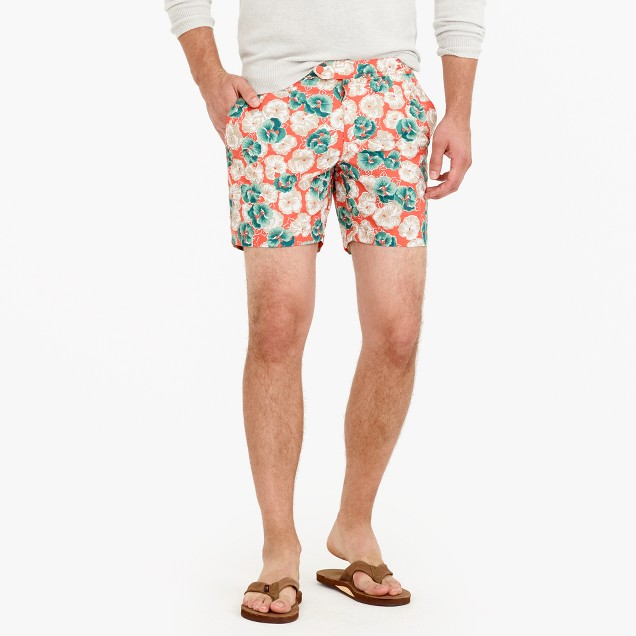 "6.5"" tab swim short in evening floral"