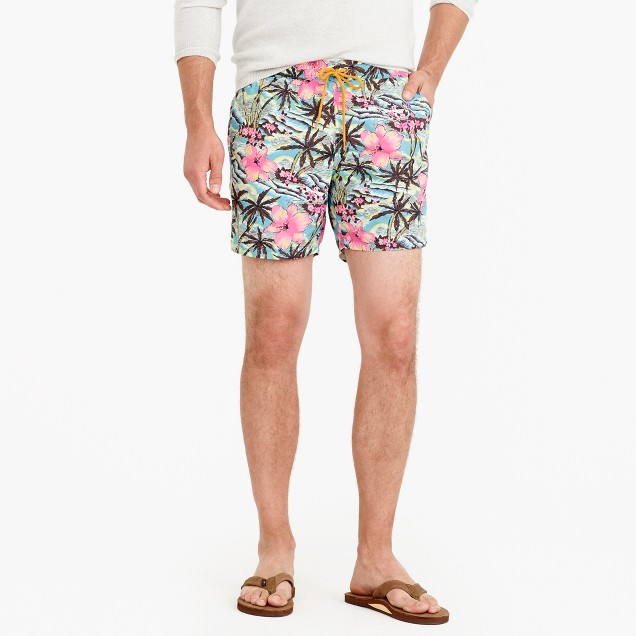 "6"" swim trunk in tropical floral"