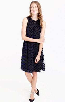 Velvet polka-dot dress