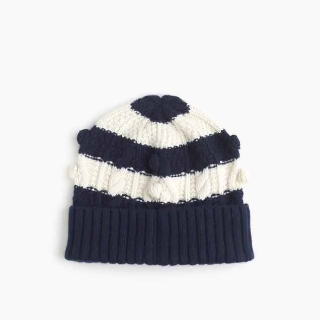 Striped pom-pom hat