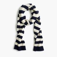 Striped pom-pom scarf