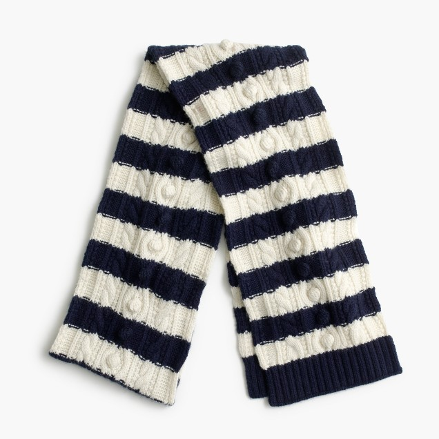 Striped pom-pom scarf