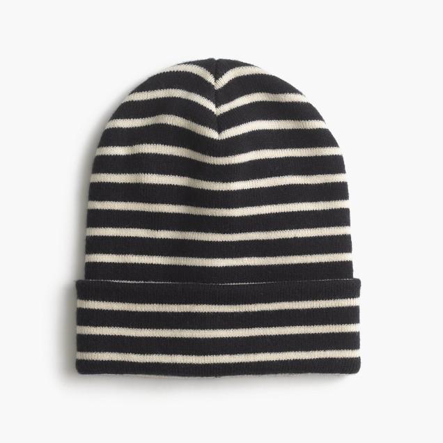 Striped beanie hat