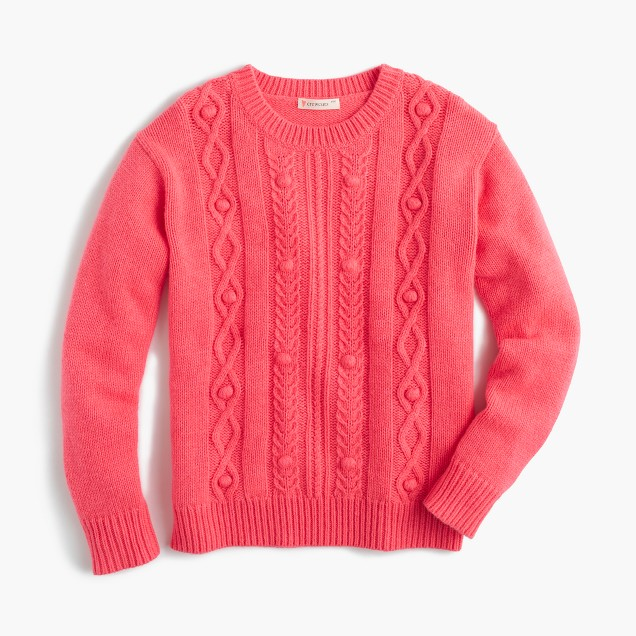 Girls' wool cable-knit sweater