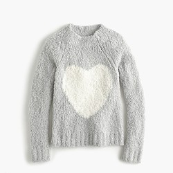 Girls' fuzzy popover heart sweater
