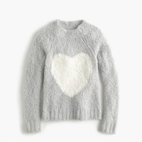 Girls' fuzzy heart popover sweater