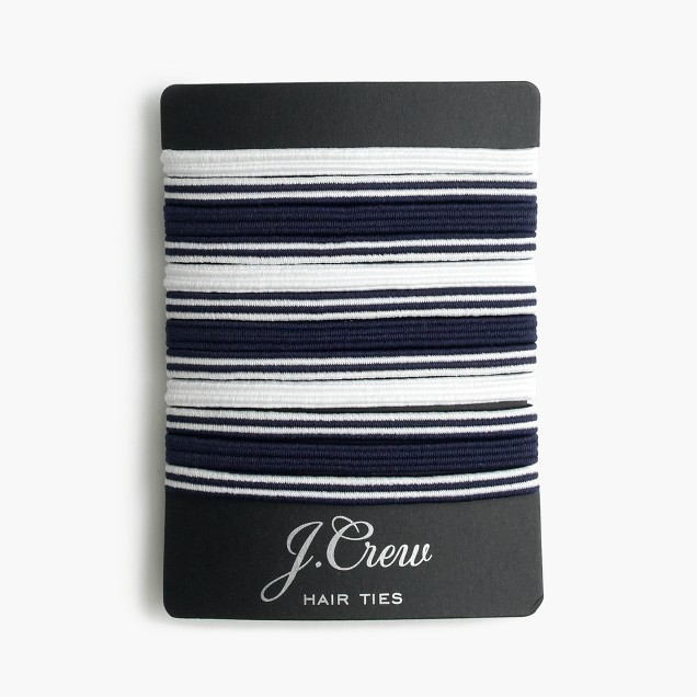 Striped elastic hair tie pack