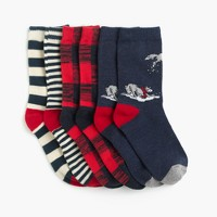 Boys' wolf striped socks three-pack
