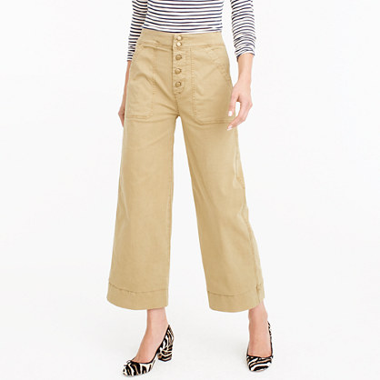 Wide-leg cropped chino pant