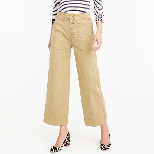 Wide-leg cropped chino pant
