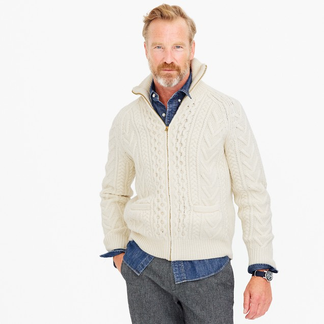 American wool full-zip sweater with Imperial yarn